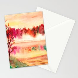 Autumn Landscape Watercolor Stationery Cards