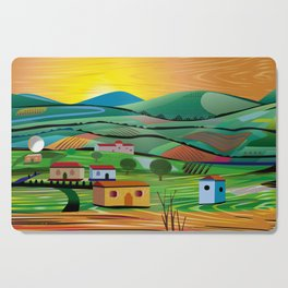 Sunset over Fields Cutting Board
