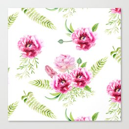 Wild Flowers Pink and Green Canvas Print