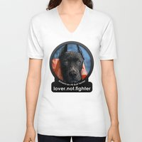 pit bull V-neck T-shirts featuring Pit Bull by Galen Valle