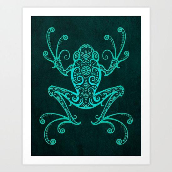 Intricate Teal Blue Tree Frog by jeffbartels