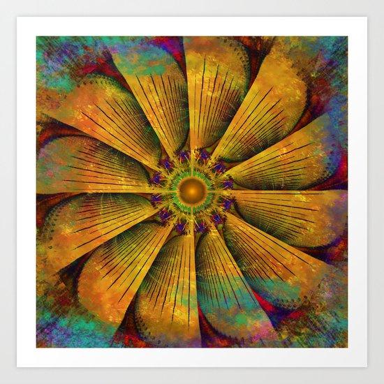 Mandala - Antiqued Art Print