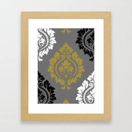 Decorative Damask Pattern BW Gray Gold Framed Art Print