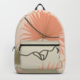 Palm leaf woman's neck line art print, boho woman face illustration, mid century modern, fashion art Backpack