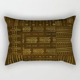 Gold African Tribal Pattern on rich brown texture Rectangular Pillow