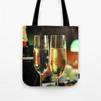 champagne Tote Bags featuring champagne by laika in cosmos