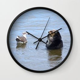 otter and gull Wall Clock