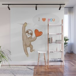 Vector card by Valentine's Day with cartoon  sloth  speaking about love. Wall Mural