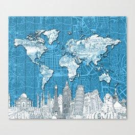 world map city skyline 10 Canvas Print