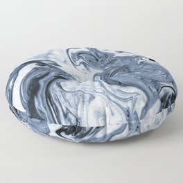 Isao - spilled ink art print marble blue indigo india ink original waves ocean watercolor painting  Floor Pillow