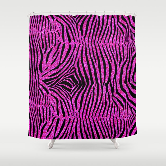 Pink Glitter Zebra Print Shower Curtain By Serigraphonart