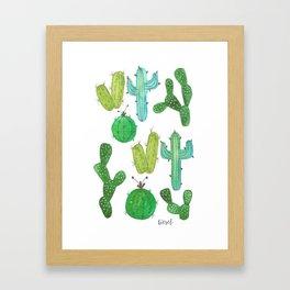 turquoise cacti Framed Art Print