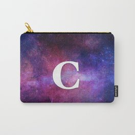Monogrammed Logo Letter C Initial Space Blue Violet Nebulaes Carry-All Pouch