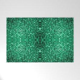 Beautiful Emerald Green glitter sparkles Welcome Mat