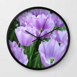 Mauve tulips Wall Clock