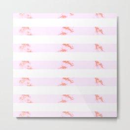 Pink Marble Stripes Metal Print