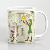 hyrule Mugs featuring hero-glyphics: Hyrule History by Josh Ln