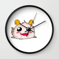 league of legends Wall Clocks featuring Poro League of Legends by GALD-Store