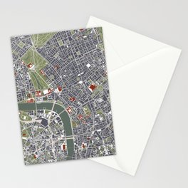 London city map engraving Stationery Cards