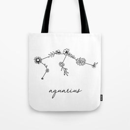 Aquarius Floral Zodiac Constellation Tote Bag