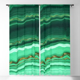 Gold And Malachite Marble Blackout Curtain