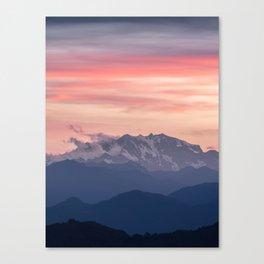 Pink And Blue Pastel Mountains Sky Landscape Sunrise Landscape Canvas Print