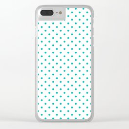 Dots (Eggshell Blue/White) Clear iPhone Case