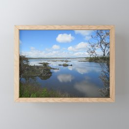 PUFFY CLOUD REFLECTIONS ON WATER AND ROCKS Framed Mini Art Print