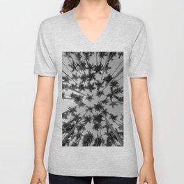 Above Palm Trees (Black and White) Unisex V-Neck