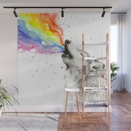 Wolf Howling Rainbow Watercolor Wall Mural