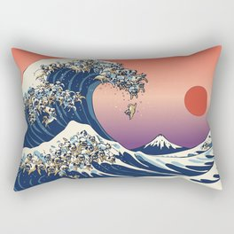 The Great Wave of Pugs / Square Rectangular Pillow