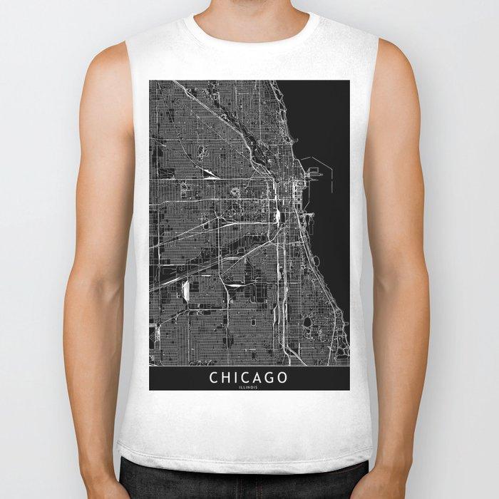 Chicago Black Map Biker Tank