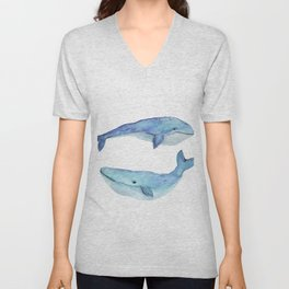 whale watercolor Unisex V-Neck