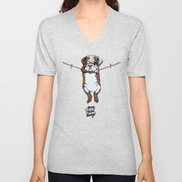 Hang in There Baby English Bulldog Unisex V-Neck