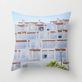 Exterior view of apartments in Spain. Typical spanish condominium Throw Pillow