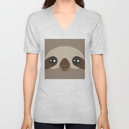 funny and cute smiling Three-toed sloth on brown background Unisex V-Neck