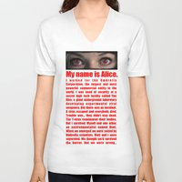 resident evil V-neck T-shirts featuring RESIDENT EVIL- MY NAME IS ALICE by Robin Stevens