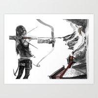 lara croft Art Prints featuring Lara Croft: Dimensional Shift  by Sean Thomas McDowell