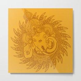 Ganesha Lineart Yellow Metal Print