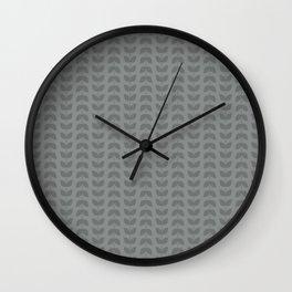 Neutral Gray Leaves Wall Clock