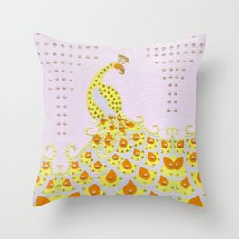 Peacock in Yellow Throw Pillow