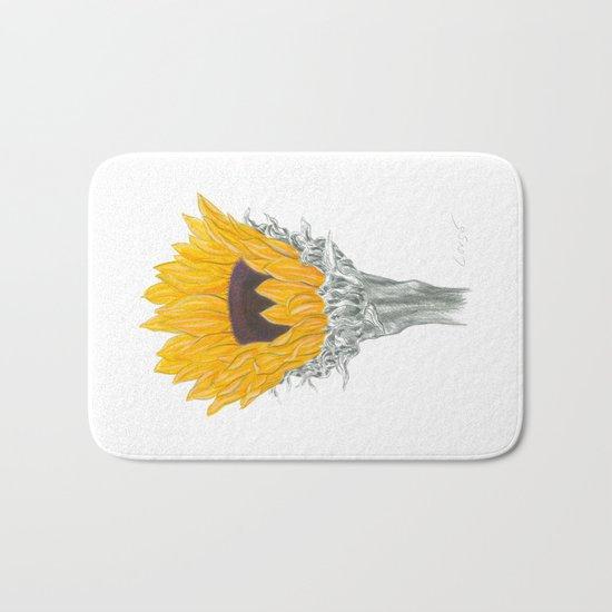 Sunflower 01 Botanical Flower Bath Mat
