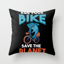 Save The Planet Bike Bicyclist Gifts Throw Pillow