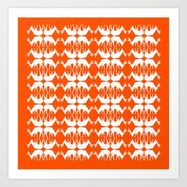 Oh, deer! in pumpkin orange Art Print