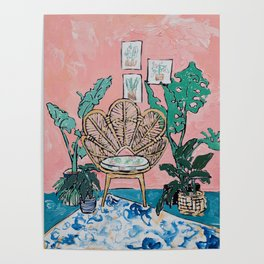 Wicker Shell Chair in Tropical Interior Poster