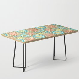 Birds and Flowers Mosaic - Green, orange, yellow Coffee Table