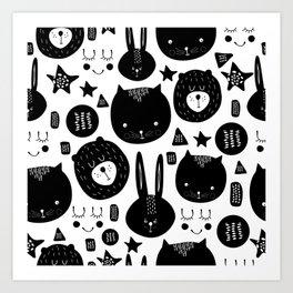 Black and White Animals Art Print