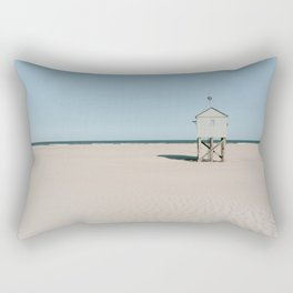 Tiny beach house on the Island Terschelling || Minimalistic travel photography calm ocean sand blue tones Rectangular Pillow