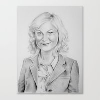 "amy poehler Canvas Prints featuring ""Leslie Knope"" from Parks and Recreation Amy Poehler Traditional Pencil Portrait by GabiDrawForMe"