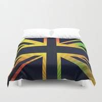 british flag Duvet Covers featuring RASTA BRITISH FLAG by shannon's art space